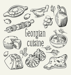 georgian food hand drawn georgia cuisine vector image vector image
