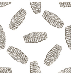 hand drawn seamless pattern with honey comb over vector image