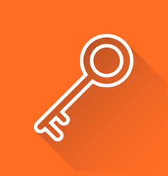 Key icon in flat style isolated on orange vector