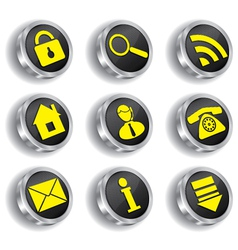 Metal web icon set vector