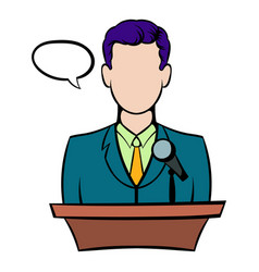 orator speaking from tribune icon icon cartoon vector image
