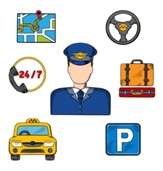 Taxi driver profession and service icons vector image