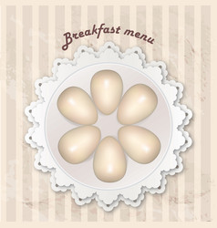 Breakfast menu with cooked eggs over seamless vector