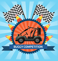 buggy car competition banner with checkered flag vector image vector image