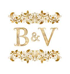 Bv vintage initials logo symbol letters b vector