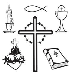 Christian hand-drawn symbols vector image vector image