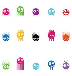 Set of fifteen monsters vector image