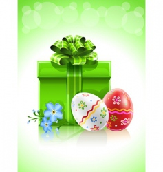 easter gift with bow flower vector image