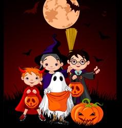 halloween background with children vector image vector image
