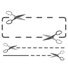 Scissors silhouette with dotted line vector