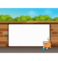 A cat and a white board vector image