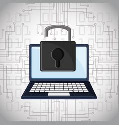 cyber security padlock online technology digital vector image vector image