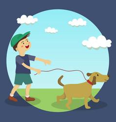 dog walking boy vector image vector image