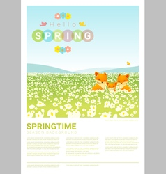 Hello spring landscape background with fox family vector image