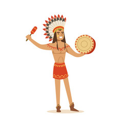 native american indian in traditional in loincloth vector image
