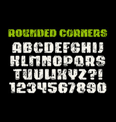 Sanserif square font with rounded corners vector