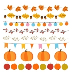 Set of cute autumn fall garlands with lights vector image