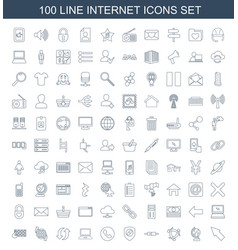 100 internet icons vector image