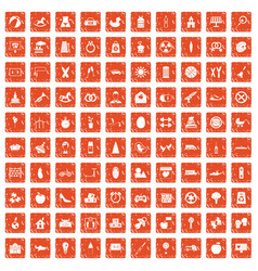 100 maternity leave icons set grunge orange vector