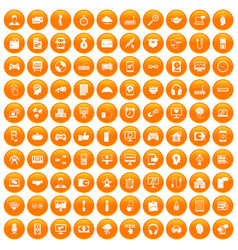 100 programmer icons set orange vector