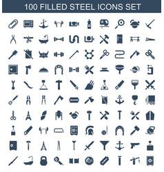 100 steel icons vector