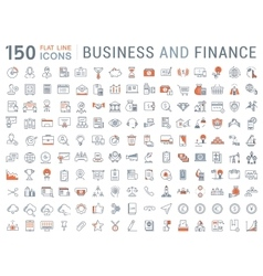 150 business and finance flat line icons vector