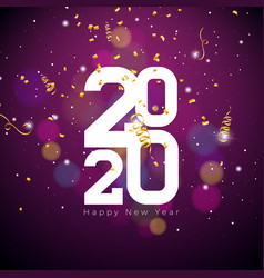 2020 happy new year with white number vector image