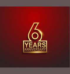 6 years golden anniversary line style isolated vector