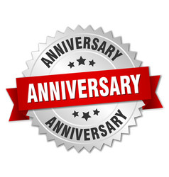 Anniversary round isolated silver badge vector