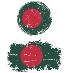 Bangladeshi round and square grunge flags vector image