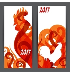 banners with rooster symbol 2017 chinese vector image