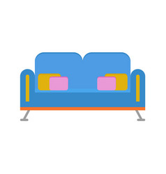 blue sofa with pillows isolated furniture vector image