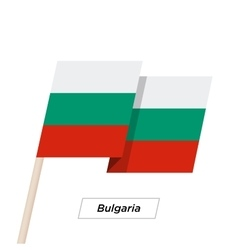 Bulgaria Ribbon Waving Flag Isolated on White vector image
