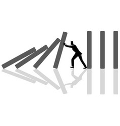 businessman trying to stop domino effect vector image