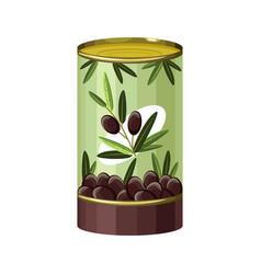 Cartoon black olives tin can icon for vector