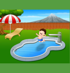cartoon boy jumping in swimming pool vector image