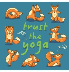 Cartoon foxes doing yoga poses card vector image