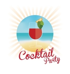 Cocktail orange segment pink background vector
