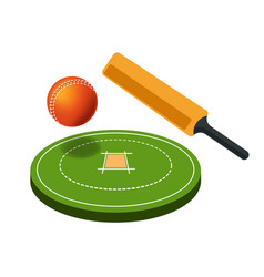 Cricket sport game field and sporting items bat vector