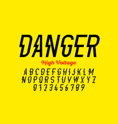 danger hight voltage style modern font design vector image