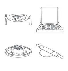 design of pizza and food icon set of pizza vector image
