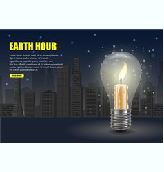 earth hour worldwide movement web banner vector image
