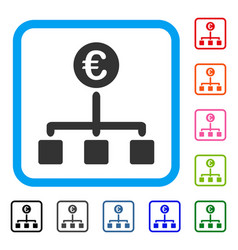 Euro cash flow framed icon vector