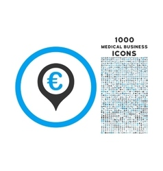 Euro Map Marker Rounded Icon with 1000 Bonus Icons vector image