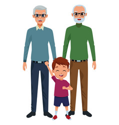 Family grandparents and grandson cartoons vector