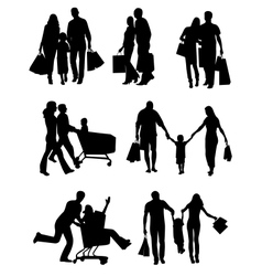 Family Silhouettes Shopping vector image
