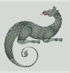 fantasy creature dragon medieval heraldic coat vector image