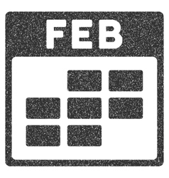 February Calendar Grid Grainy Texture Icon vector