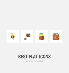 flat icon purse set of money purse currency and vector image