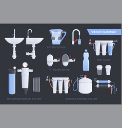 Flat water filter icon set vector
